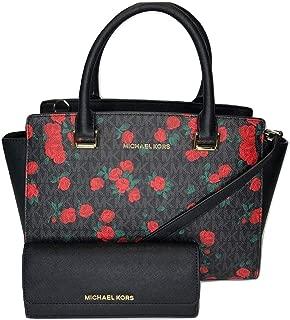 MICHAEL Michael Kors Selma MD TZ Satchel bundled with Michael Kors Jet Set Travel Flat Wallet