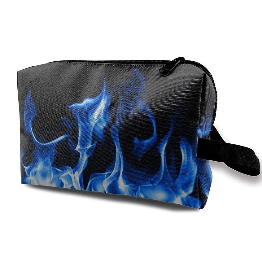 傾く球体荒野Blue Fire 収納ポーチ 化粧ポーチ 大容量 軽量 耐久性 ハンドル付持ち運び便利。入れ 自宅?出張?旅行?アウトドア撮影などに対応。メンズ レディース トラベルグッズ