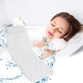 Full Body Bath Pillow,SAWAKE Bathtub Pillow with Mesh Washing Bag,16 Non-Slip Suction Cups,3D Spa Bathtub Pillow for Head ...