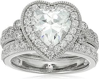 Platinum-Plated Sterling Silver Swarovski Zirconia Heart-Shape Antique Ring Set
