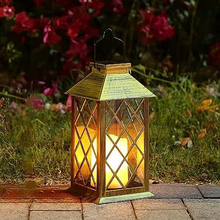 Linterna Solar con Vela Efecto Luz LED Solar Jardín Lámpara,Estilo Vintage, Exterior Iluminación Balcón Jardín Faroles de Decoracion
