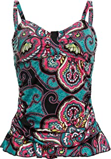 Women's 50's Retro Ruched Tankini Swimsuit Top with Ruffle Hem Tummy Control