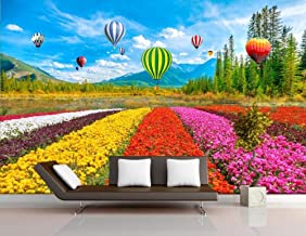 Behang 3D Behang Muurschilderingen Bloem Zee Tulp Hete Lucht Ballon Muurschildering 3D Slaapkamer Behang voor Woonkamer Mu...