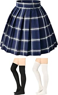 Elibelle Women's Adjustable Waist Tartan Pleated School Skirt with 2 Pairs Socks