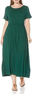 Amazon Essentials Women's Plus Size Short-Sleeve Waisted Maxi Dress