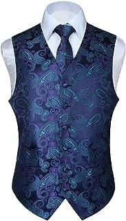 Men's Classic Paisley Floral Jacquard Waistcoat & Necktie and Pocket Square Vest Suit Set