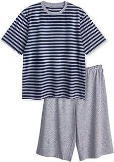 綿100% 半袖 メンズ パジャマ Tシャツ素材 ボーダー ルームウエア 夏