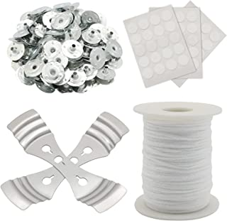 200 Ft Braided Cotton Candle Wicks Spool Roller, 100 Pcs with Metal Candle Wick Sustainer Tabs, Three-Hole Candle Wick Sti...