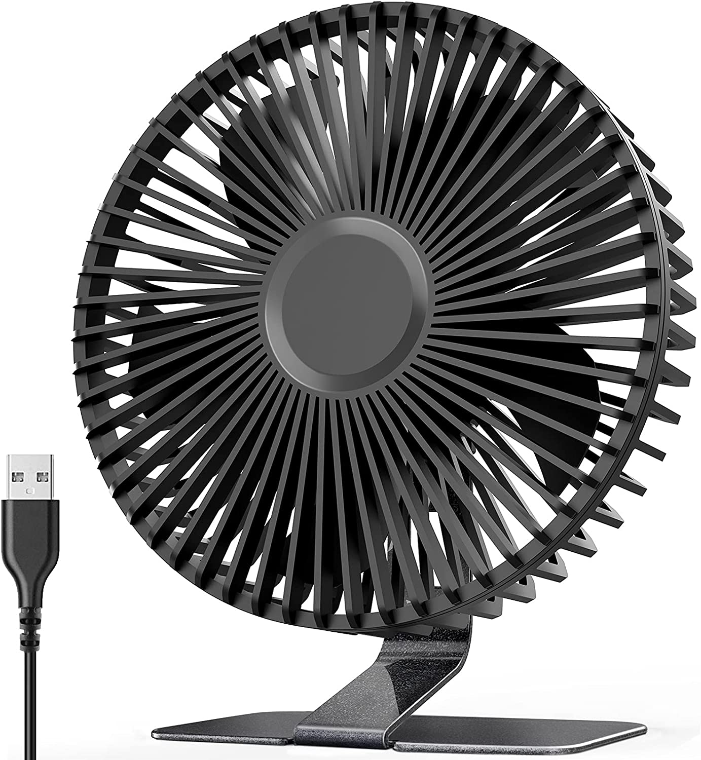 2021 6 INCH USB Desk Fan with Upgraded Strong Airflow, 4 Speeds, Whisper Quiet Desktop Home Office Table Fan, 90°Tilt Adjustable for Better Cooling,4.9 feet Cord,Black Body with Metal Finish Bracket