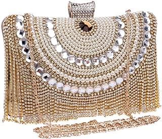 TWTAI Women's Crystal Rhinestone Fringe Evening Clutch Dinner Dress Chain Bag Banquet Bag Wedding Bridal Pearl Bags (Color : Gold)