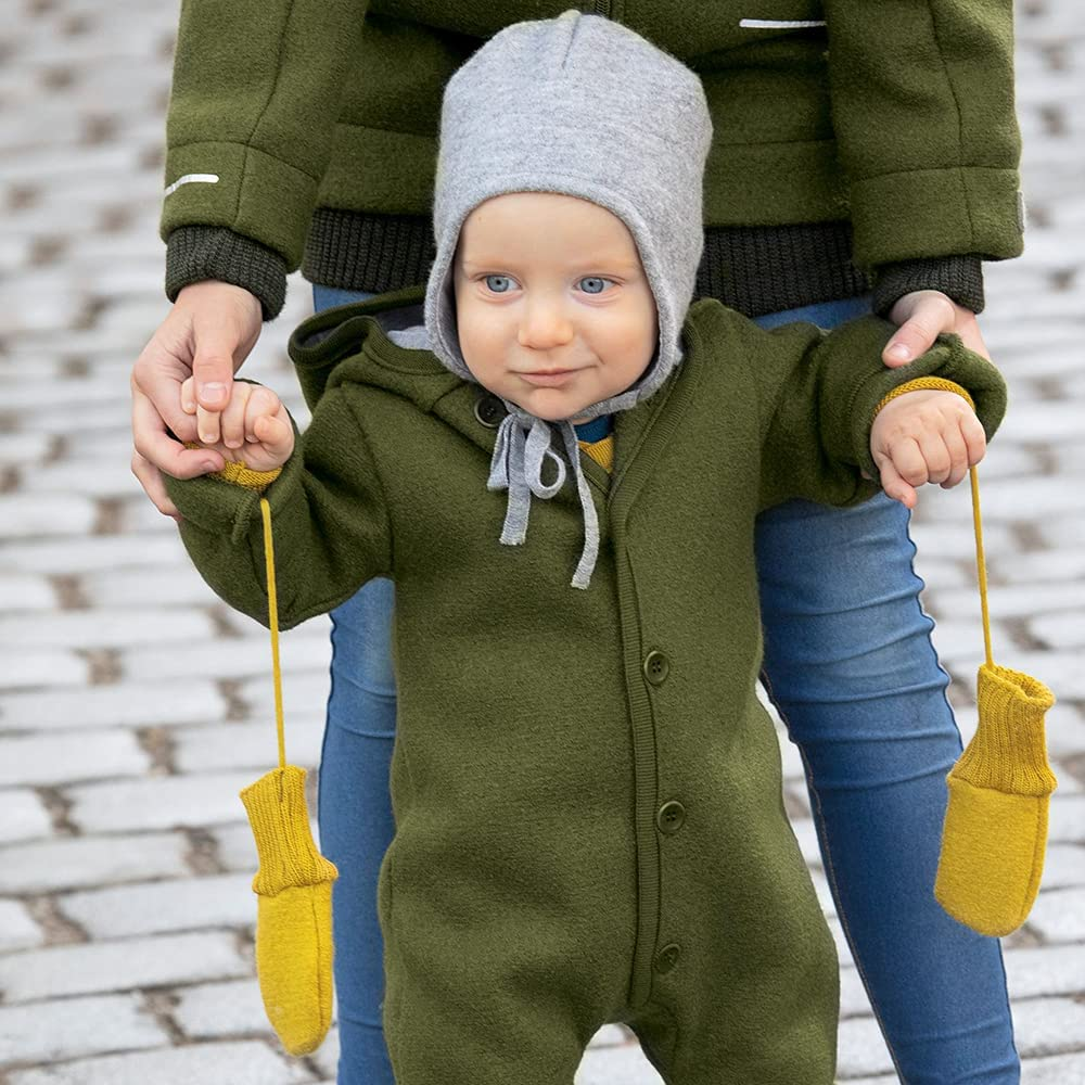 Toddler and Kids' Mittens: Organic Merino Wool Snow Gloves with String