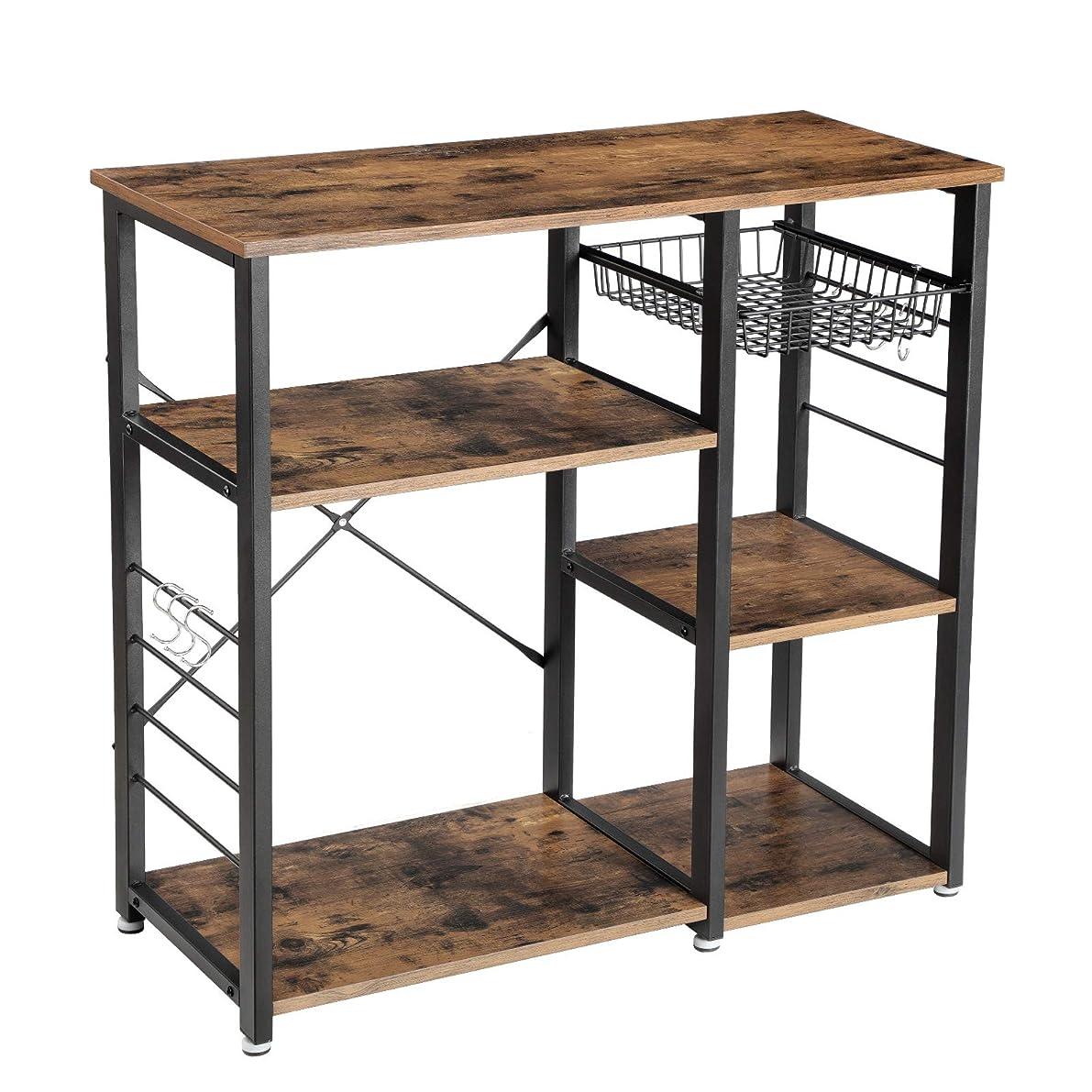 VASAGLE Industrial Kitchen Baker's Rack, Utility Storage Shelf, Microwave Oven Stand Metal Frame, Wire Basket 6 Hooks Mini Oven, Spices Utensils, Simple Assembly Wood Look UKKS90X