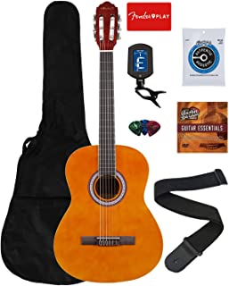 Vault 39-Inch Classical Guitar - Natural Bundle with Gig Bag, Tuner, String, Picks, Strap, Fender Play Online Lessons, and Austin Bazaar Instructional DVD
