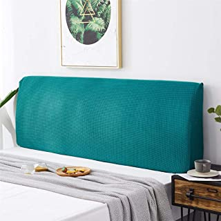 WOMACO Bed Headboard Slipcover Protector Stretch Solid Color Dustproof Cover for Bedroom Decor (Z Jacquard-Teal, King (82.5-90.5))