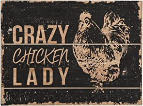 Foreside Rustic Crazy Chicken Lady 18.25 x 13.5 inch Distressed Wood Wall Sign, 55