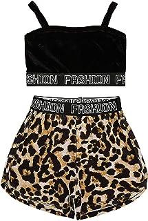 Freebily Niñas Conjuntos de Top y Pantalones Cortos Camiseta Chalecos de Tirantes Pants Cortos Leopardo Conjuntos de Moda ...