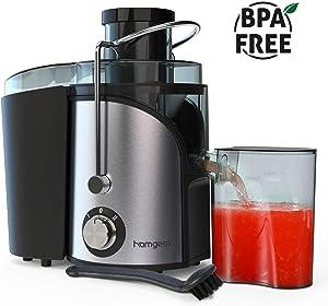 Juicer, Homgeek vegetable Juicer Machines, Dual Speed small Juicer with Anti-drip Kit Design, Easy to Clean, Stainless Steel, BPA-FREE