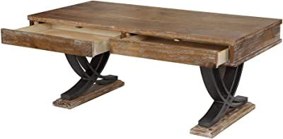 Benjara, Black And Brown Wooden Coffee Table With Two Drawers