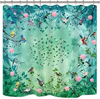 Riyidecor Tree and Birds Shower Curtain Panel Flowers Blooming Floral Green Pink Art Printed Vintage Colourful Waterproof Fabric Bathroom Home Decor 12-Pack Shower Plastic Hooks 72x72 Inch