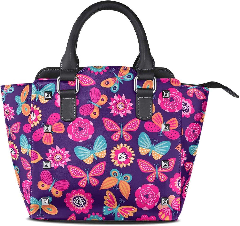 My Little Nest Women's Top Handle Satchel Handbag Butterflies and Flowers Ladies PU Leather Shoulder Bag Crossbody Bag