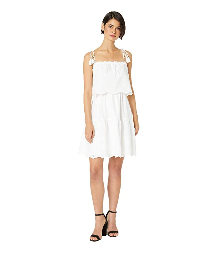 Cupcakes and Cashmere Maiora Eyelet Embroidered Tiered Dress (Optic White) Women