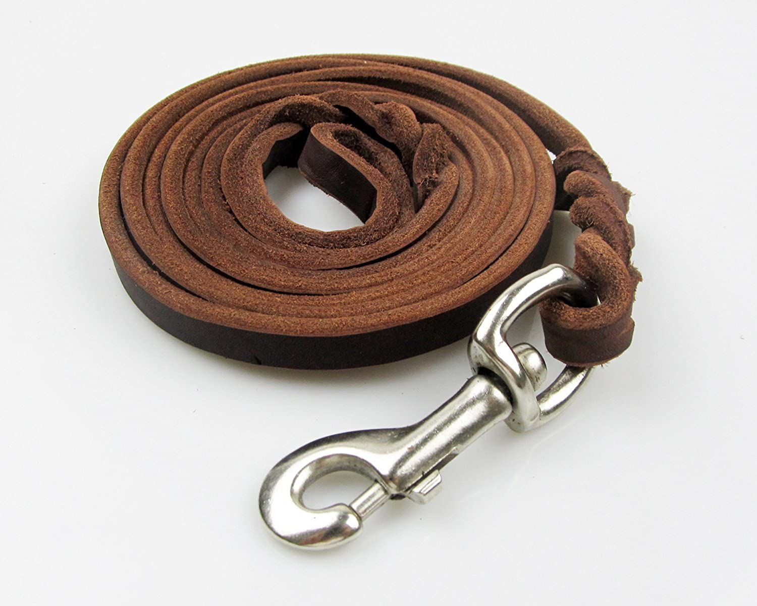 Rantow Durable Genuine Brown Leather Leash with Classic Braid Handle and Metal Clasp for Large Dogs Medium Dogs, 260 cm x 1.2 cm, Collar & Harness Available Separatey (Iron)