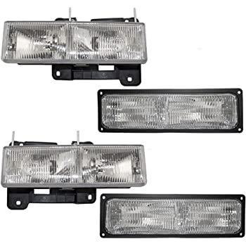 HEADLIGHTSDEPOT Halogen Headlights 8Pc Compatible with Chevrolet ...