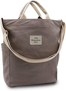 Shinewave Tote Bag for Women, Thick Wear-Resistant Canvas Material Shoulder Bags for Women, Large Capacity&Soft and comfy Crossbody Bag, Built-in Small Pockets, Left and Right Pockets Messenger Bag