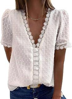 Womens Summer Lace Tops V Neck Short Sleeve Shirts...