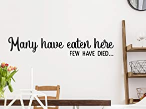 Story of Home LLC Many Have Eaten here Few Have Died Funny Kitchen Wall Decal Pantry Wall Sign Dining Room Vinyl Wall Art Home Decor Sticker