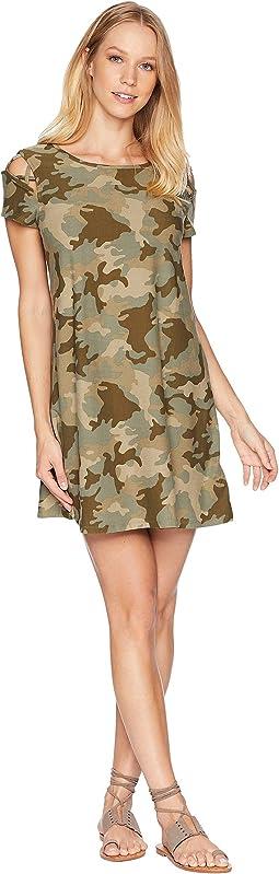 Scoop Neck Caged Shoulder Detail Short Sleeve Dress