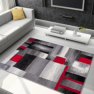 Alfombra De Salón Moderna – Color Gris Negro Rojo De Diseño Geométrico Cuadrado – Suave – Fácil De Limpiar – Mejor Calidad – Diferentes Dimensiones S-XXXL 120 x 170 cm