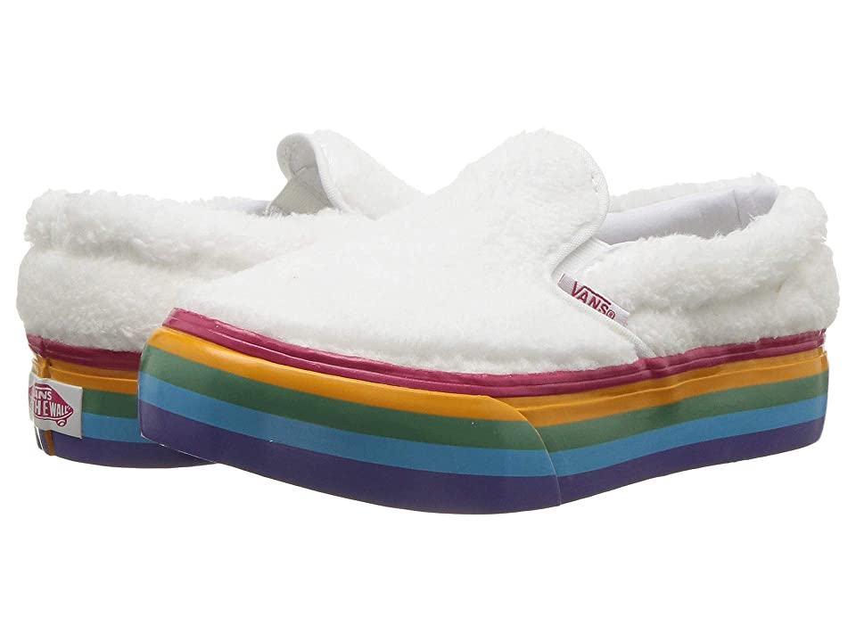 Vans Kids Classic Slip-On Platform (Little Kid/Big Kid) ((Shearling Rainbow) True White) Girls Shoes