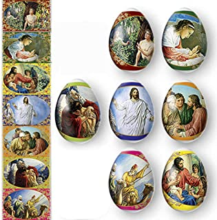 Ukrainian Heat Shrink Wrap Sleeve Decoration Easter Egg Wrappers Pysanka Arounds Set (Religious Bible Jesus)