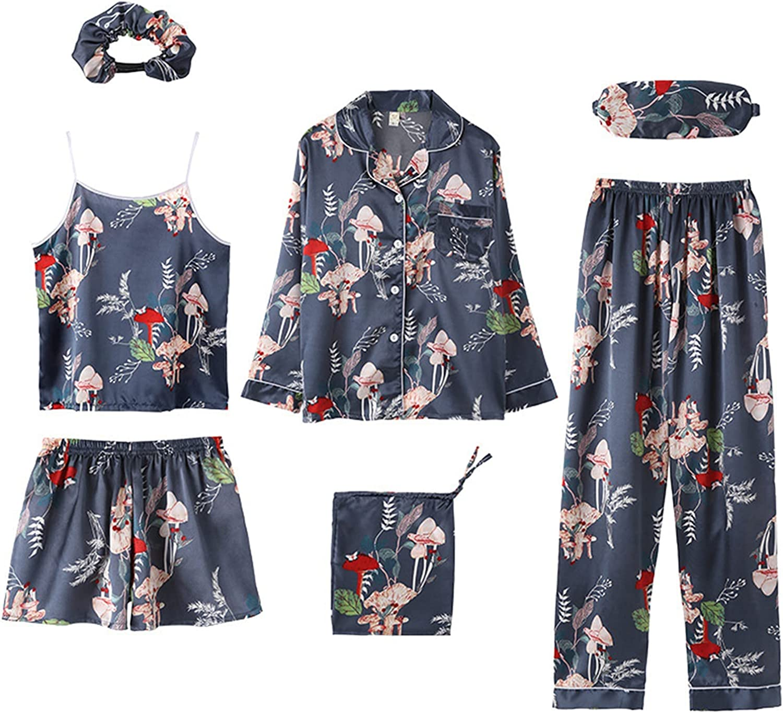 Sexy Women's Suit Printed Pyjamas Satin Dressing Gown Sleepwear Set 7-Piece