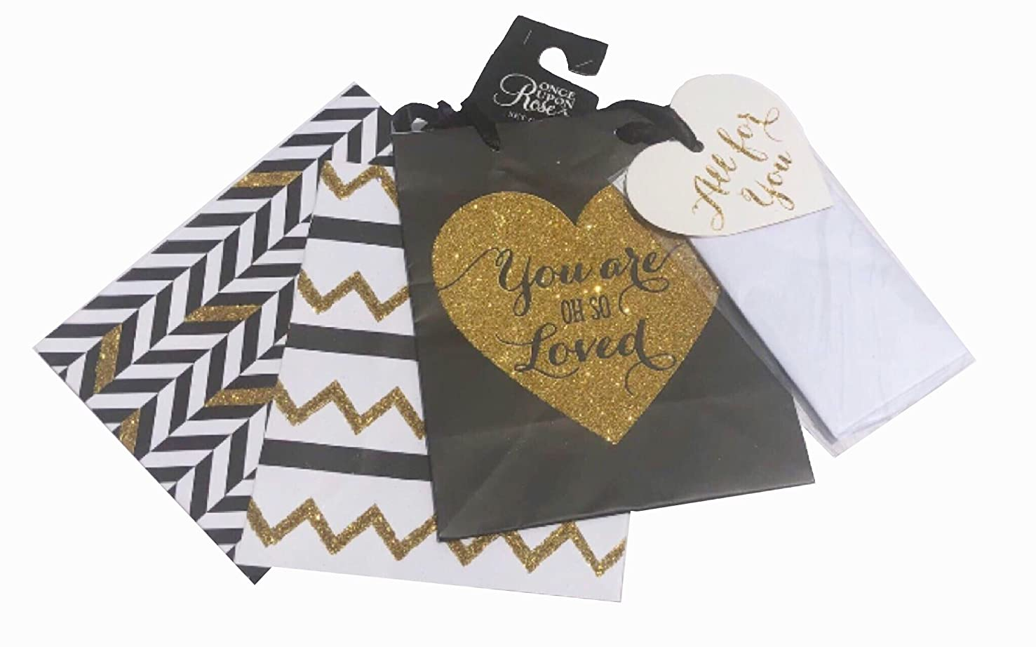 Once Upon a Rose Set of 3 Assorted Glitter Gift Bags and Heart Gift Tags with Tissue, Black, Zig-Zag Hearts