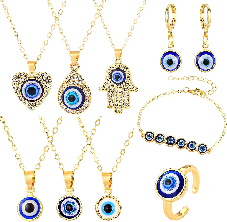 yfstyle Evil Eye Necklace Earrings Jewelry Sets for Women Girls CZ Evil Eye Pendant Necklaces Dainty Evil Eye Bracelet for Protection Evil Eye Hoop Earrings Adjustable Evil Eye Ring