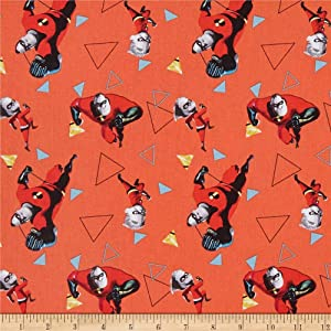 Disney The Incredibles 2 Mr. Incredible and Dash Fabric, Red, Fabric By The Yard