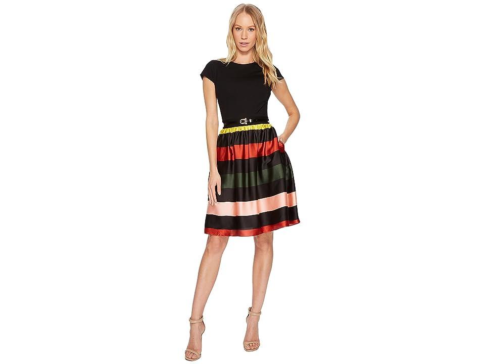 Ted Baker Aneli Cruise Stripe Bow Midi Dress (Black) Women