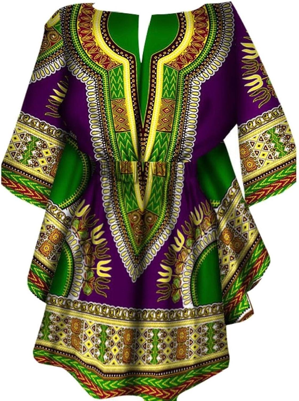Generic Womens Dashiki African Print Dashiki Half Sleeve Accept Waist Dresses