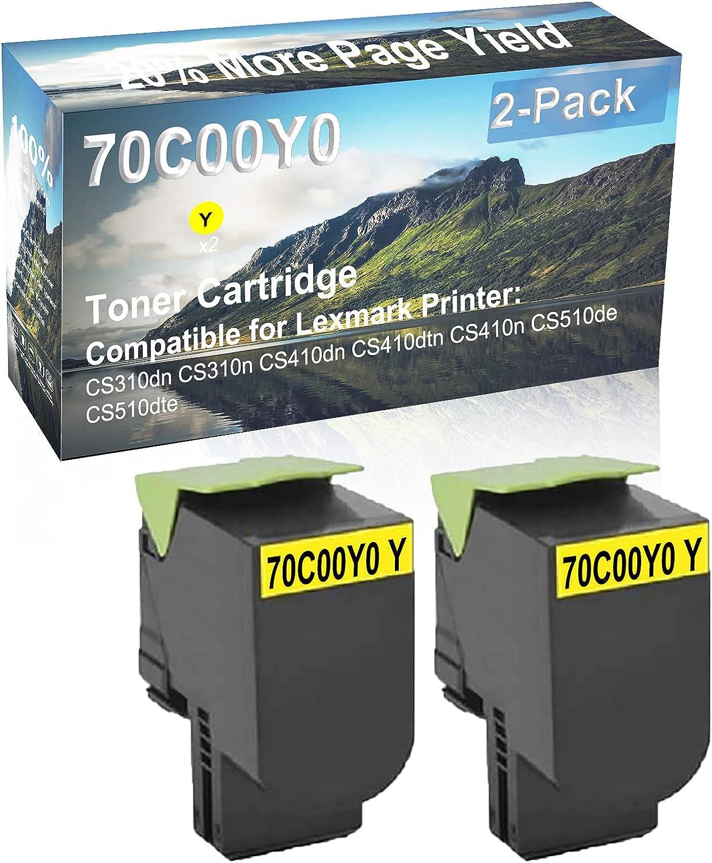 2-Pack (Yellow) Compatible CS410dtn, CS410n Printer Toner Cartridge High Capacity Replacement for Lexmark 70C00Y0 Toner Cartridge