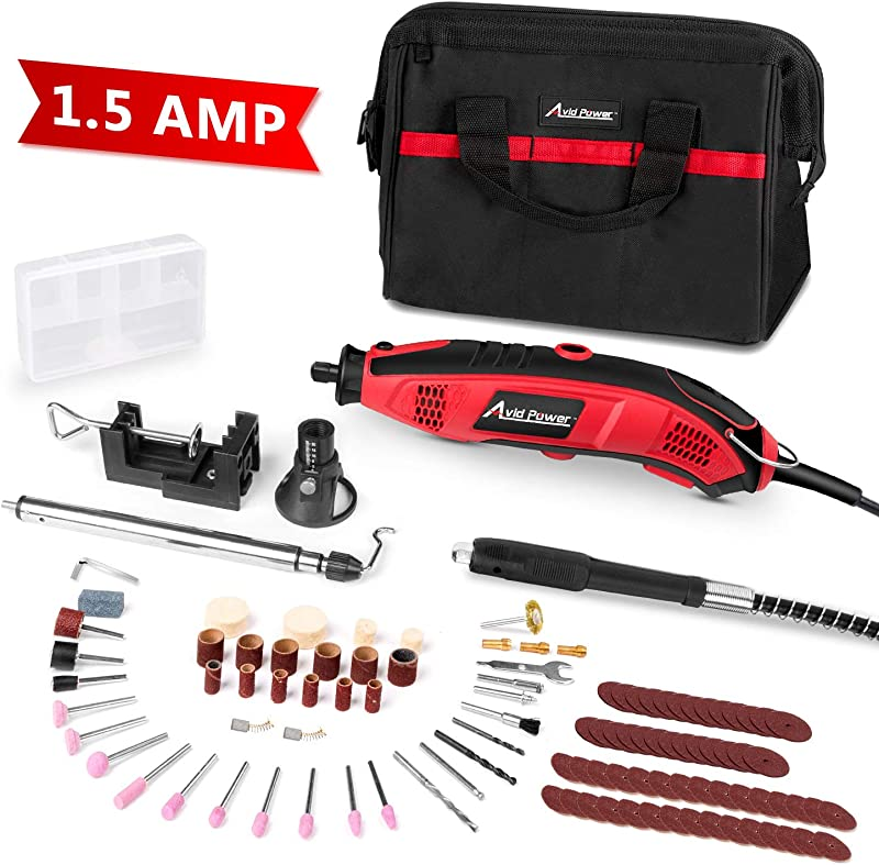 Rotary Tool Kit 1 5 Amp With 110pcs Accessories Variable Speed 3 Attachments Flex Shaft Holder Hanger And Cutting Guide For Home And Crafting Projects