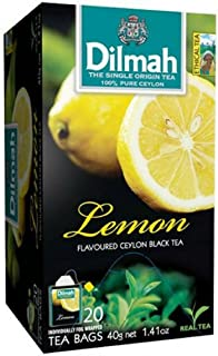 Dilmah Lemon Flavored Black Tea - Pure Ceylon Black Tea with Flavor of Real Lemon - 20 Tea Bags