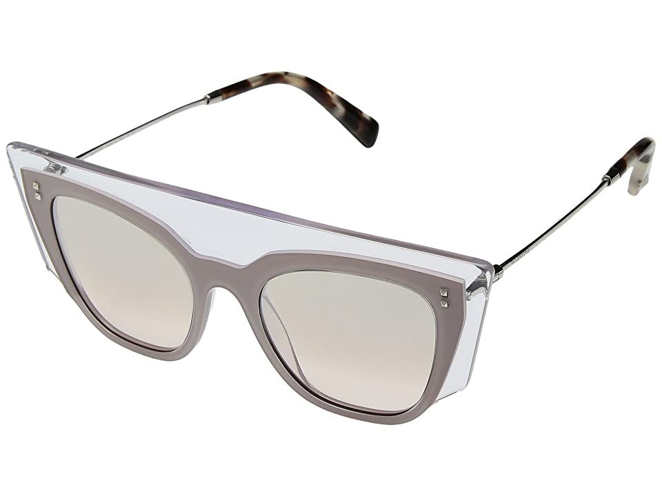 Valentino 0VA4035 (Transparent Pink/Light Brown Mirror Gradient) Fashion Sunglasses