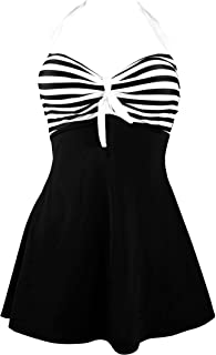 COCOSHIP Vintage Sailor Pin Up Swimsuit Retro One Piece Skirtini Cover Up Swimdress(FBA)