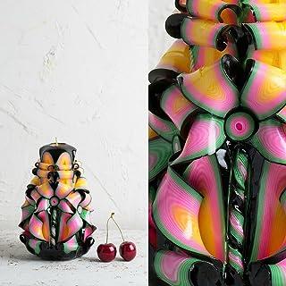 Colori Nero e Arcobaleno - Floreale - Candela Ornamentale Intagliata a Mano - EveCandles