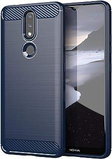 غطاء خلفي ناعم مقاوم للخدش لهواتف نوكيا 2.4 رفيعة من الياف الكربون - ازرق