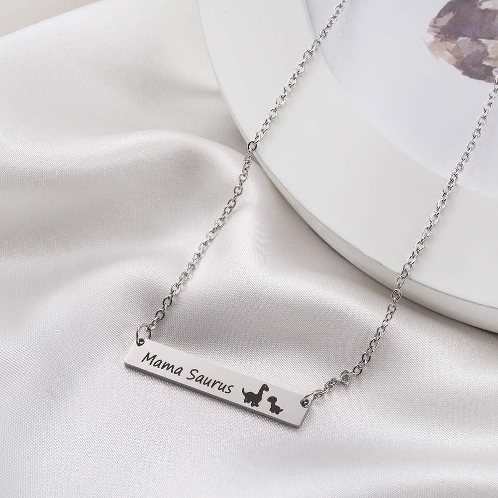 Winssi Mamasaurus Necklace Stainless Steel Dinosaur Bar Pendant Personalized Jewelry Gift Mom Grandma