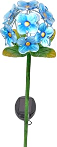 Peaktop Outdoor Solar Garden Metal Stake, Blue/Flower