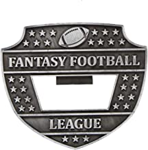 Fantasy Football League Medal Bottle Opener - 3 Inch Wide FFL Medallion with Football Themed V Neck Ribbon - - Decade Awards